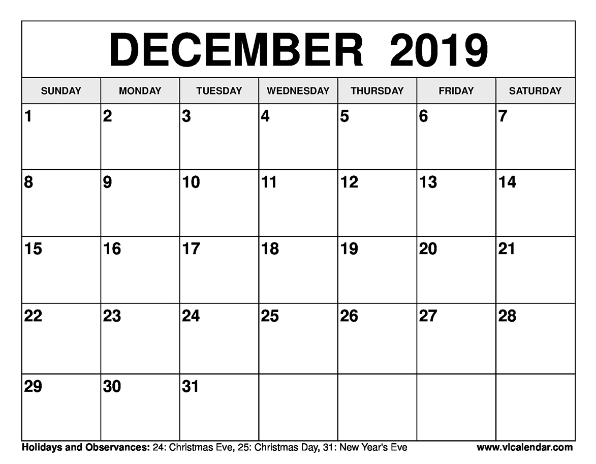 photograph relating to Printable December Calendar titled December 2019 Calendar Printable Templates