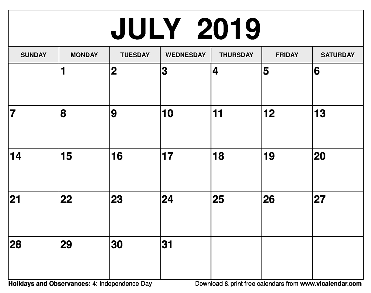 July 4 2019 Calendar July 2019 Calendar Printable Templates