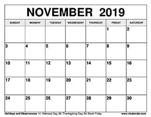 November 2019 Calendar Thumbnail