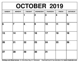 October 2019 Calendar Thumbnail