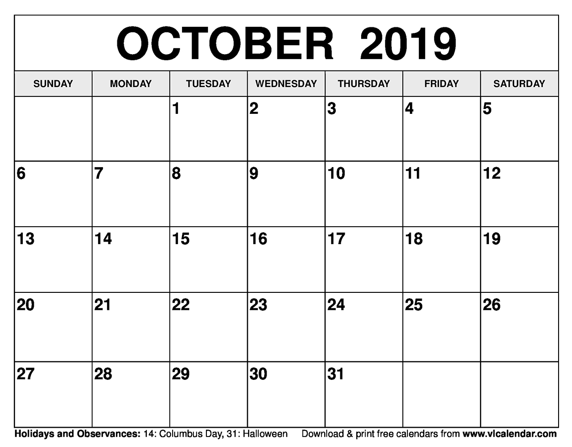 photograph about October Calendar Printable known as Oct 2019 Calendar Printable Templates