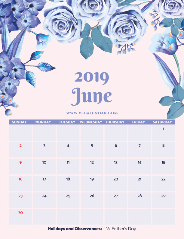 Printable June 2019 Floral Calendar with Holidays Portrait