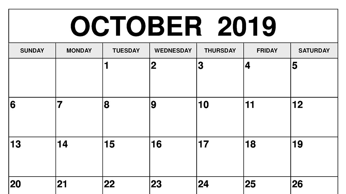picture about Printable October Calendars named Oct 2019 Calendar Printable Templates