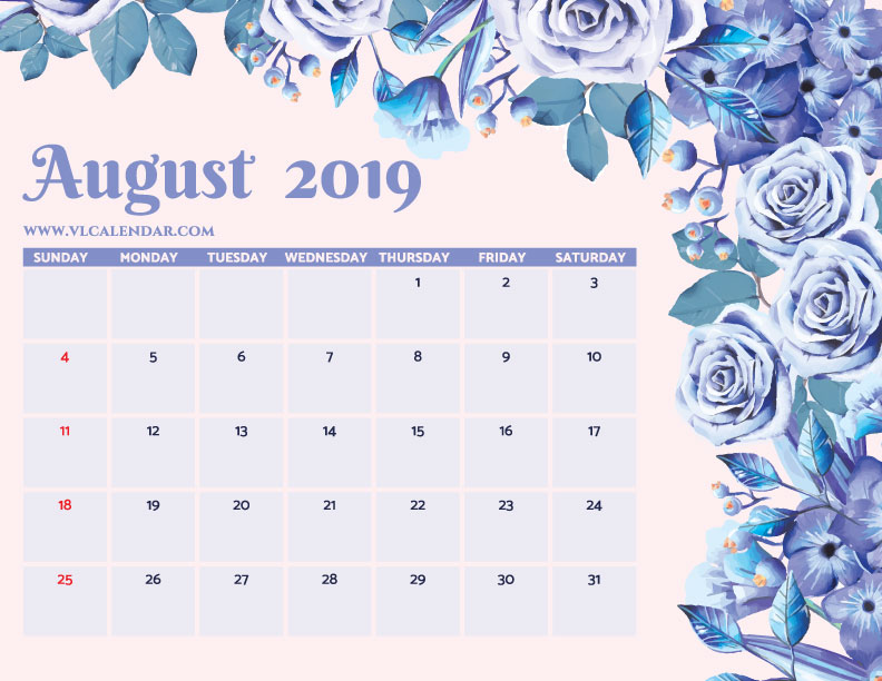 Printable August 2019 Floral Calendar with Holidays Landscape