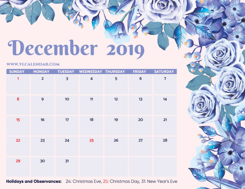 Printable December 2019 Floral Calendar with Holidays Landscape