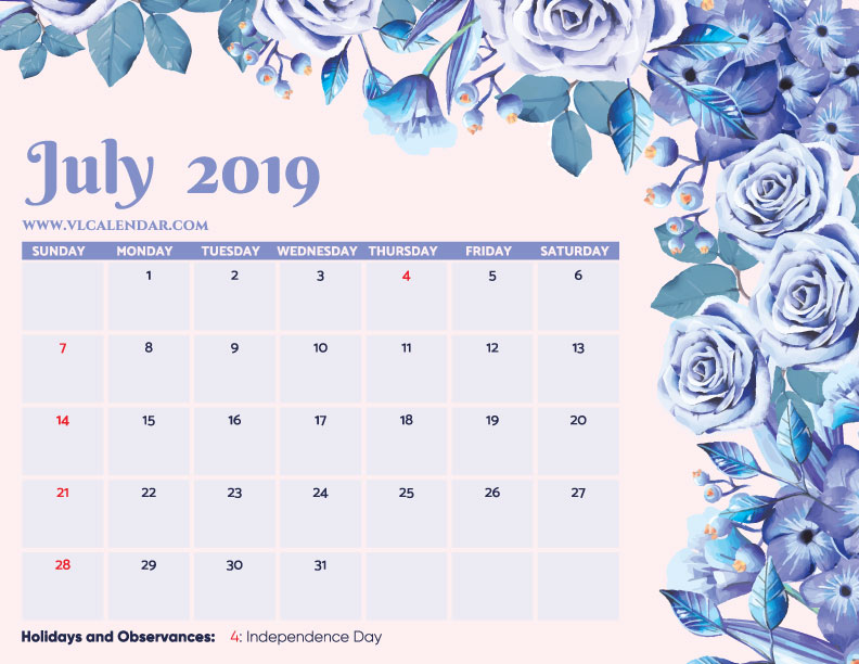 Printable July 2019 Floral Calendar with Holidays Landscape