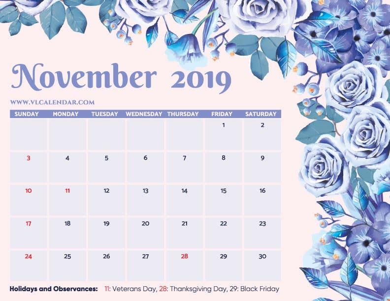 Printable November 2019 Floral Calendar with Holidays Landscape