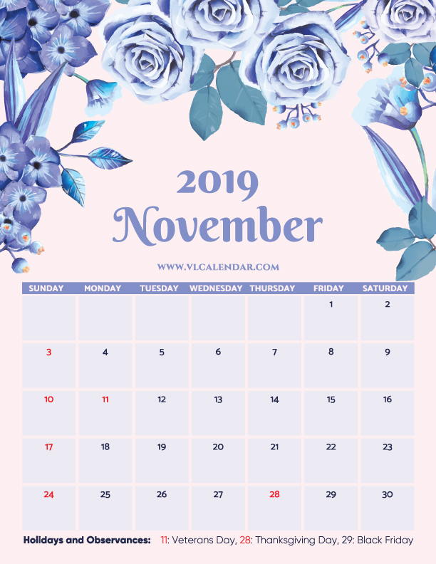Printable November 2019 Floral Calendar with Holidays Portrait