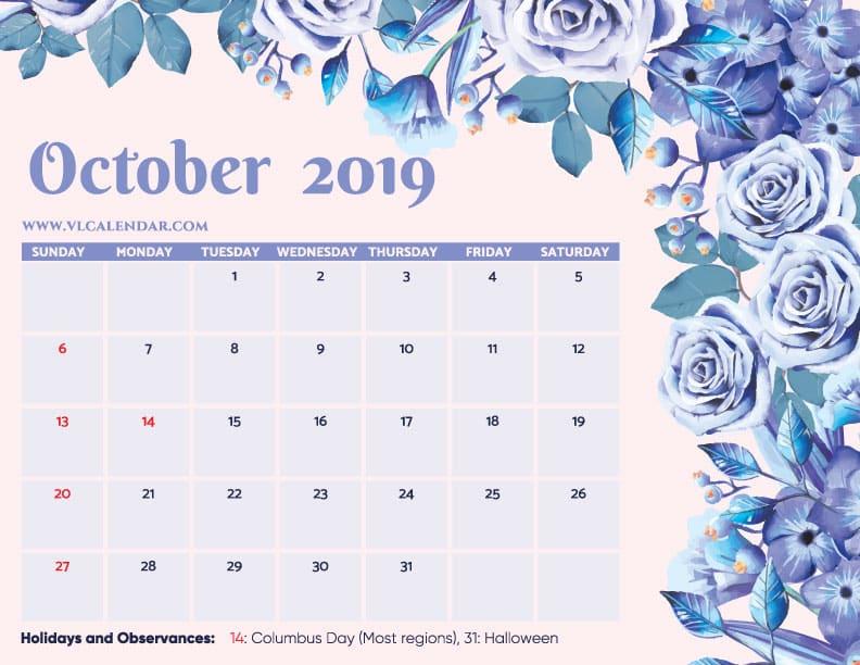 Printable October 2019 Floral Calendar with Holidays Landscape