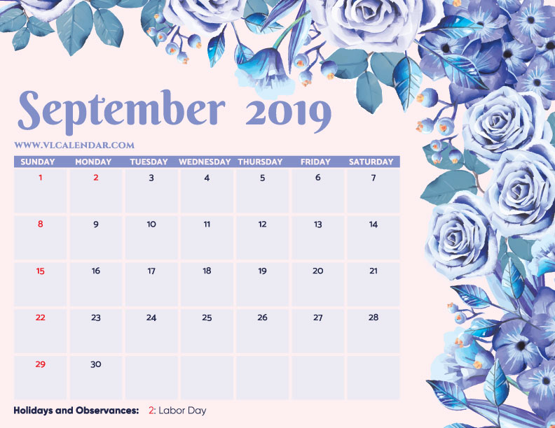 Printable September 2019 Floral Calendar with Holidays Landscape