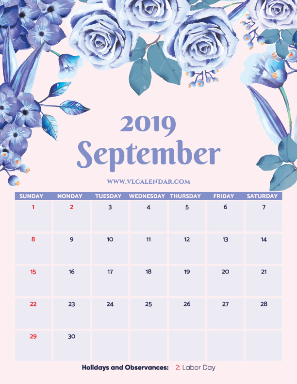 Printable September 2019 Floral Calendar with Holidays Portrait