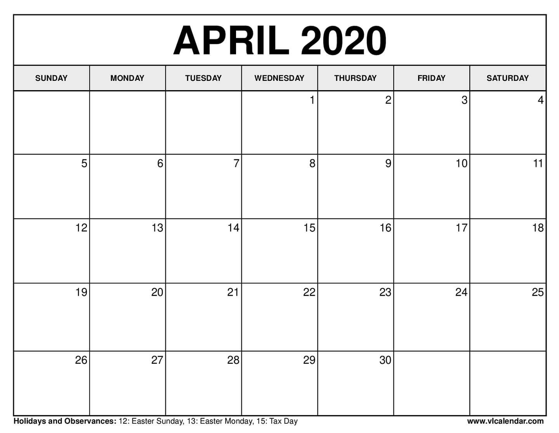 April 2020 Calendar Excel Sheet | Free Printable Calendar  |April 2020 Calendar