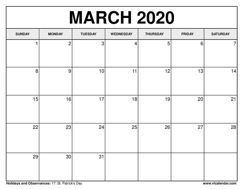 march printable calendar 2020