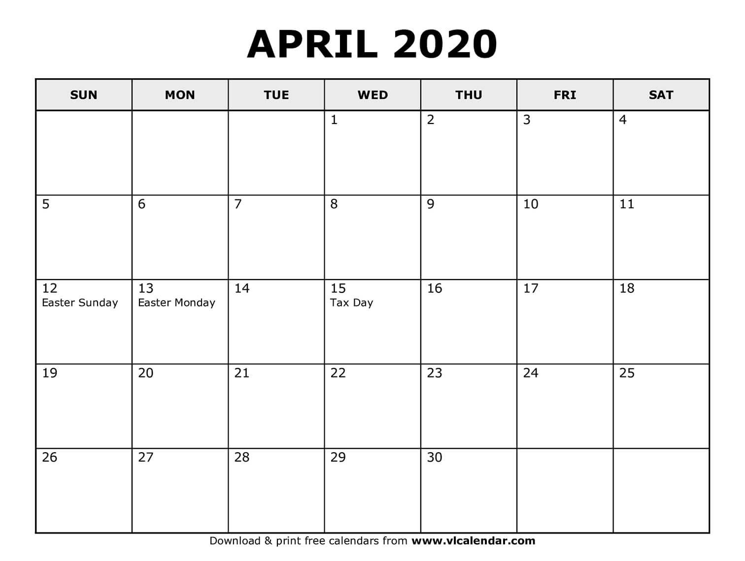 April 2020 - calendar templates for Word, Excel and PDF  |April 2020 Calendar