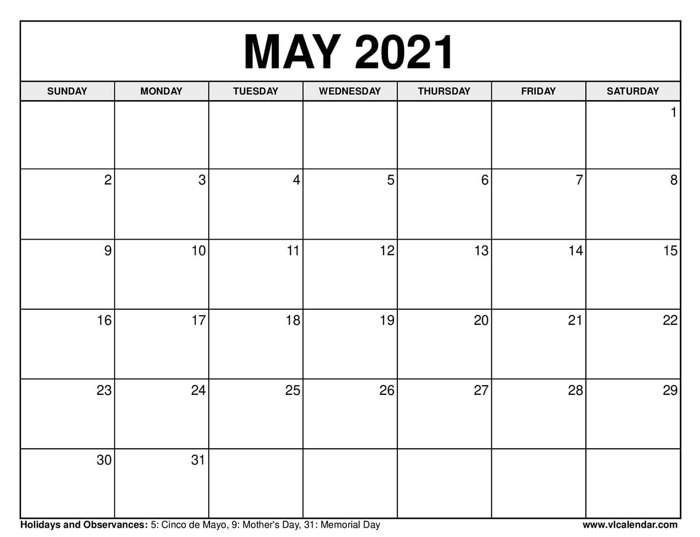 Pictures of May 2021 Weekly Calendar