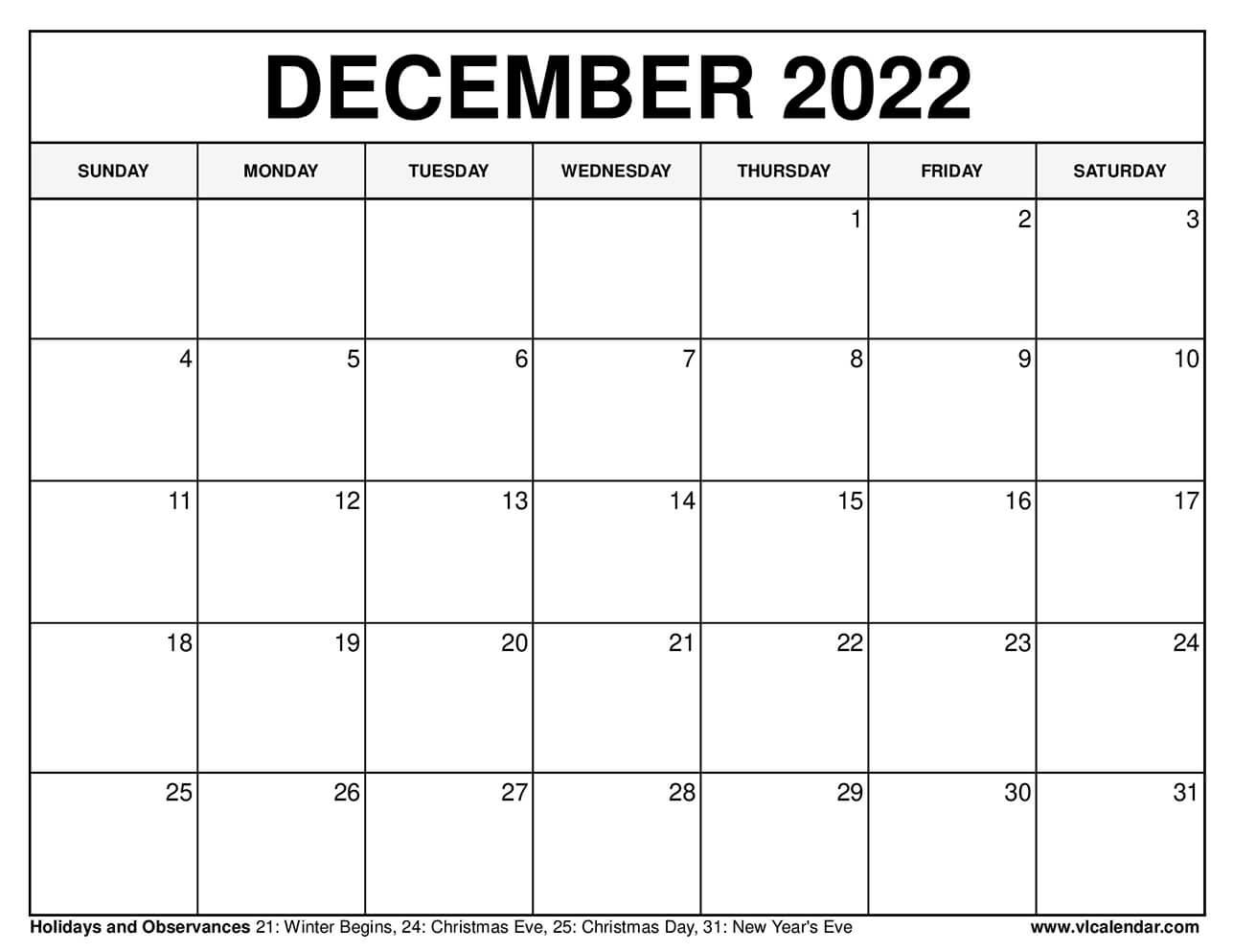 Calendar For December 2022.Printable December 2021 Calendar Templates With Holidays