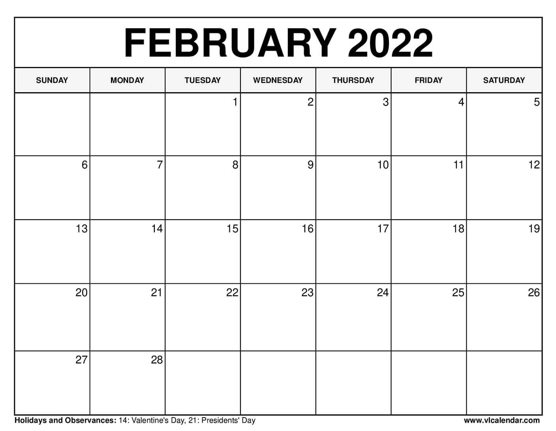 Moon Calendar February 2022.Printable February 2021 Calendar Templates With Holidays