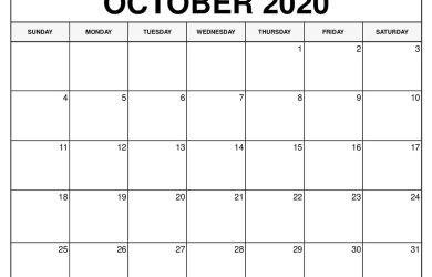 October 2020 Calendar