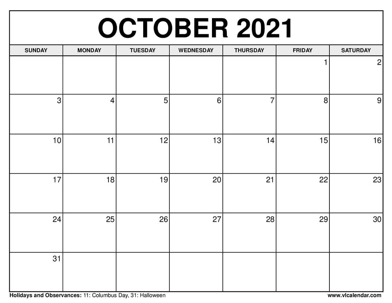 October 2021 Calendar