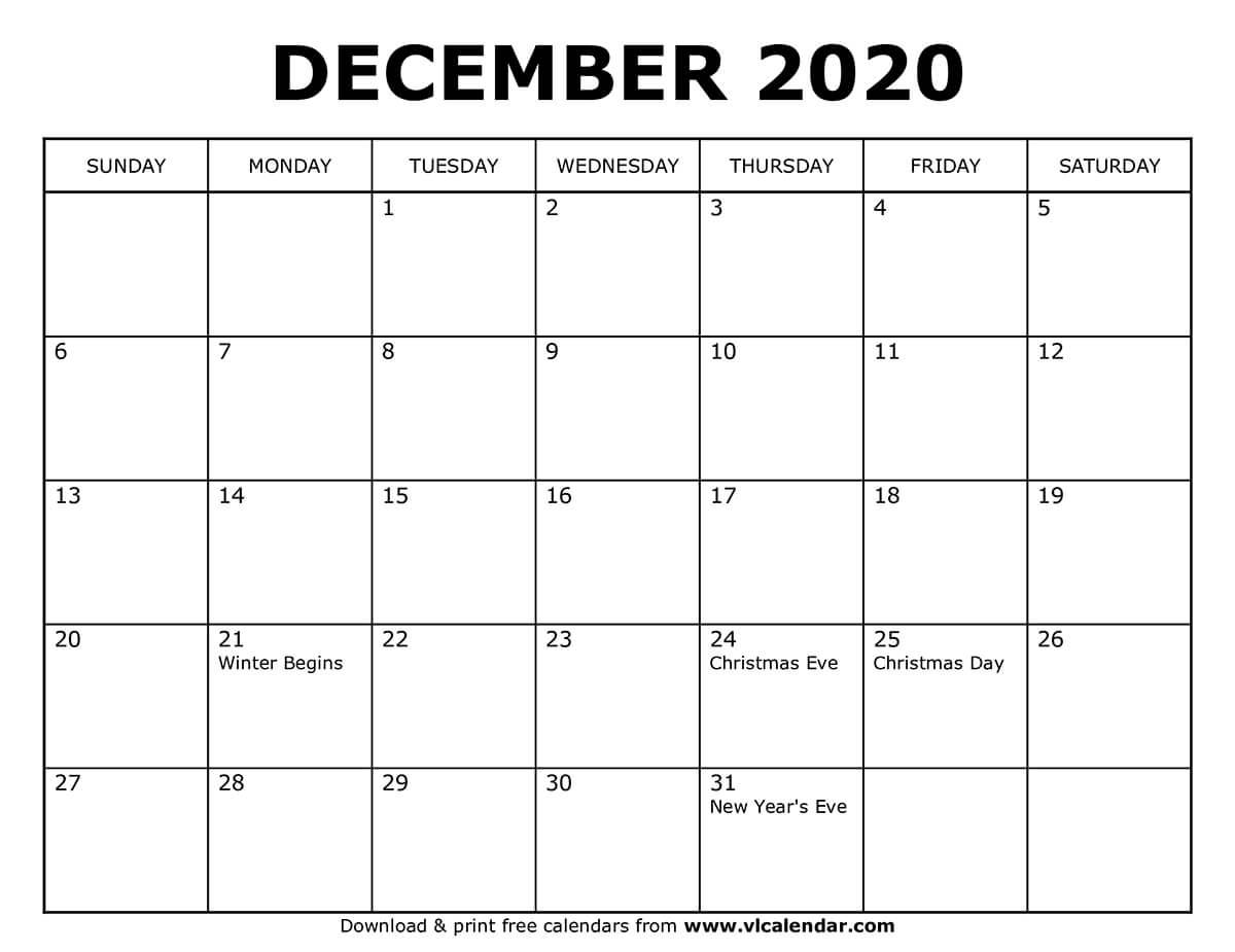 Printable December 2020 Calendars