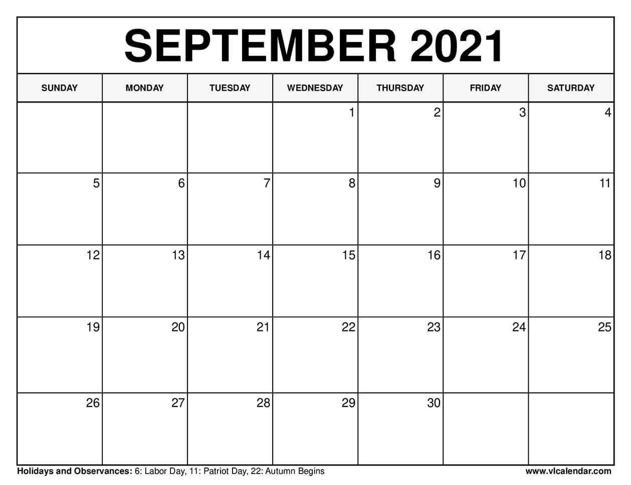 Pictures of Calendar 2021 Sept