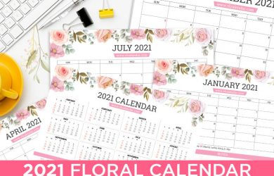 Printable 2021 Floral Calendar Landscape
