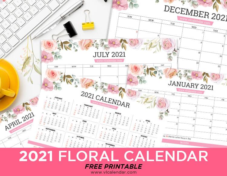 Printable 2021 Floral Calendar