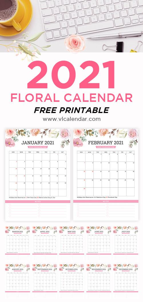 Printable 2021 Floral Calendar Portrait